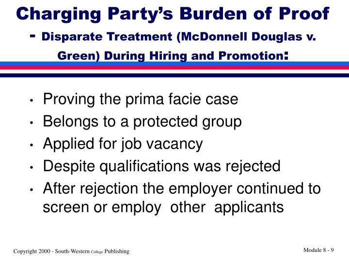 Charging Party's Burden of Proof -