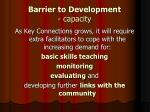 barrier to development capacity