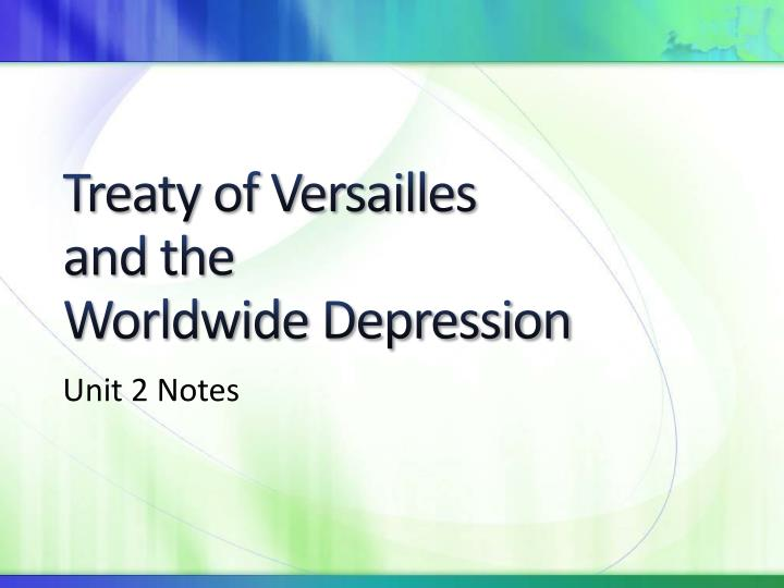 treaty of versailles and the worldwide depression