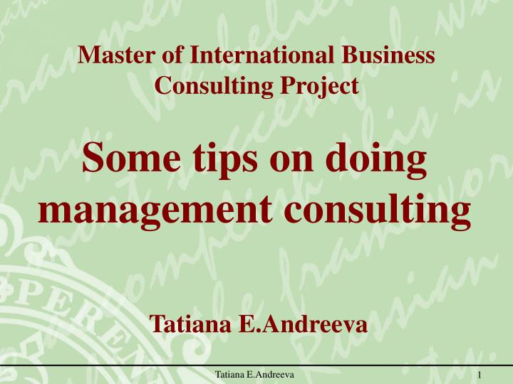 Some tips on doing management consulting