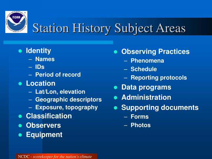 Station History Subject Areas