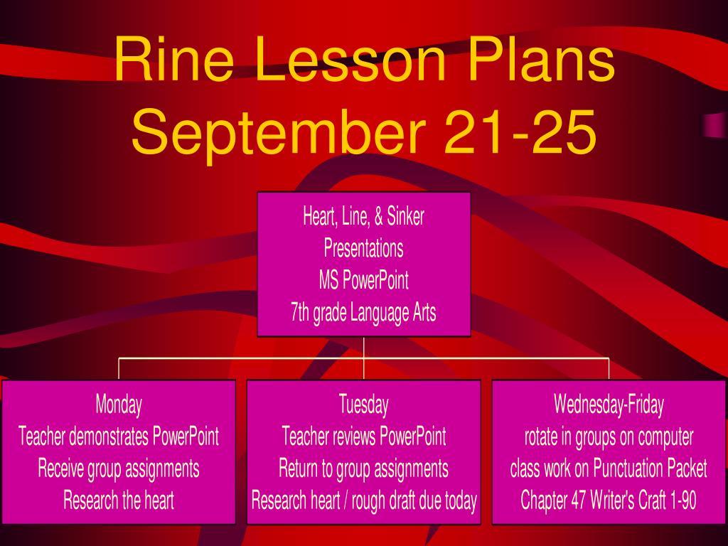 PPT - Rine Lesson Plans September 21-25 PowerPoint Presentation - ID