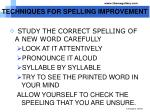 techniques for spelling improvement