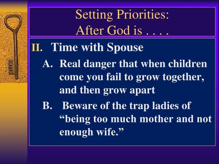Setting Priorities: