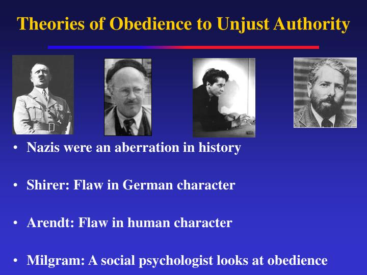 theories of obedience to unjust authority n.