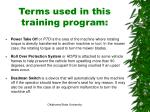 terms used in this training program