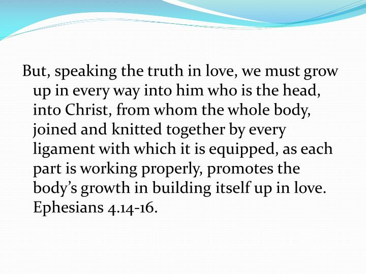 But, speaking the truth in love, we must grow up in every way into him who is the head, into Christ, from whom the whole body, joined and knitted together by every ligament with which it is equipped, as each part is working properly, promotes the body's growth in building itself up in love.  Ephesians 4.14-16.