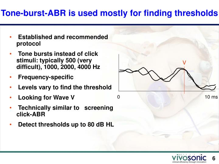 Tone Burst Abr Is Mostly For Finding Thresholds