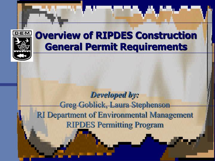 overview of ripdes construction general permit requirements n.
