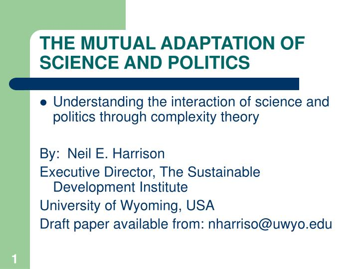 the mutual adaptation of science and politics n.