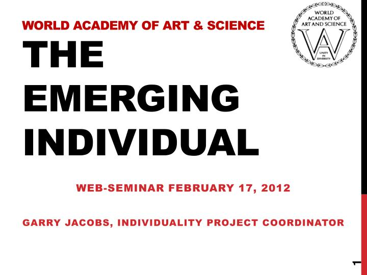 world academy of art science the emerging individual n.