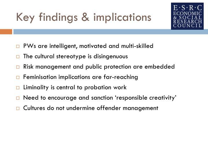 Key findings & implications