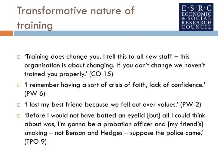 Transformative nature of