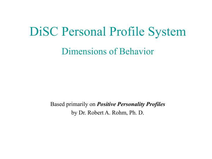 disc personal profile system n.