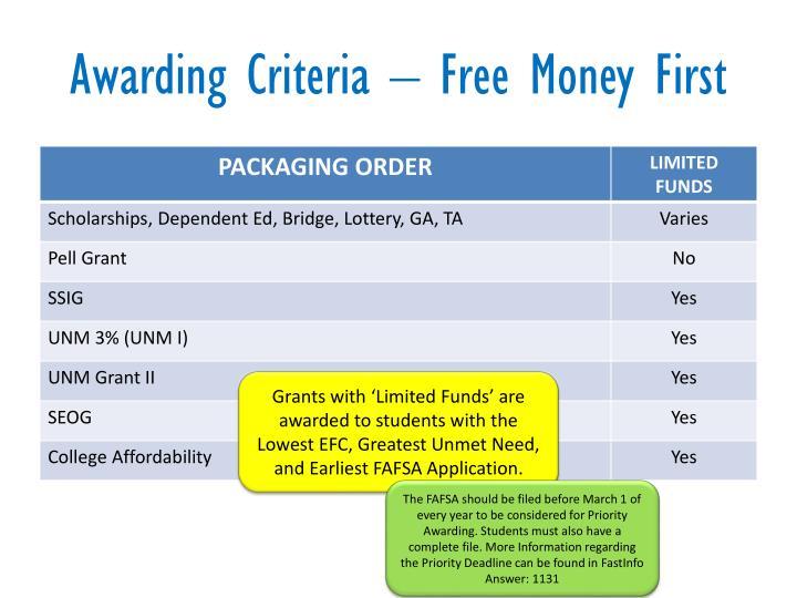Awarding Criteria – Free Money First