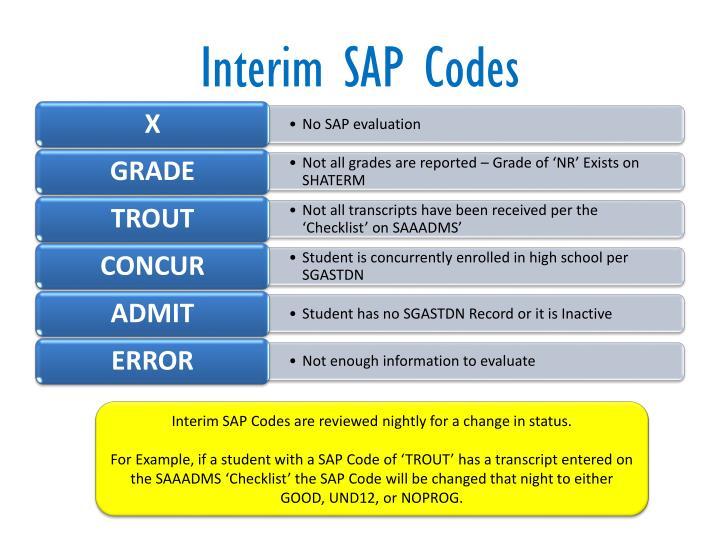 Interim SAP Codes