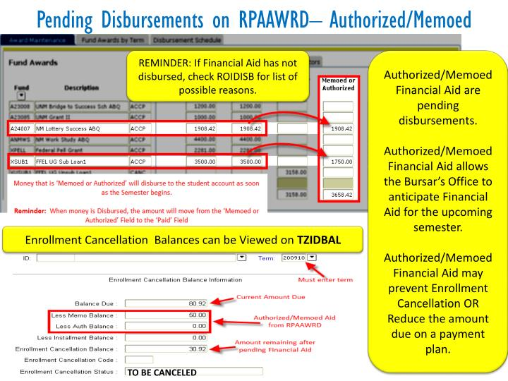 Pending Disbursements on RPAAWRD– Authorized/