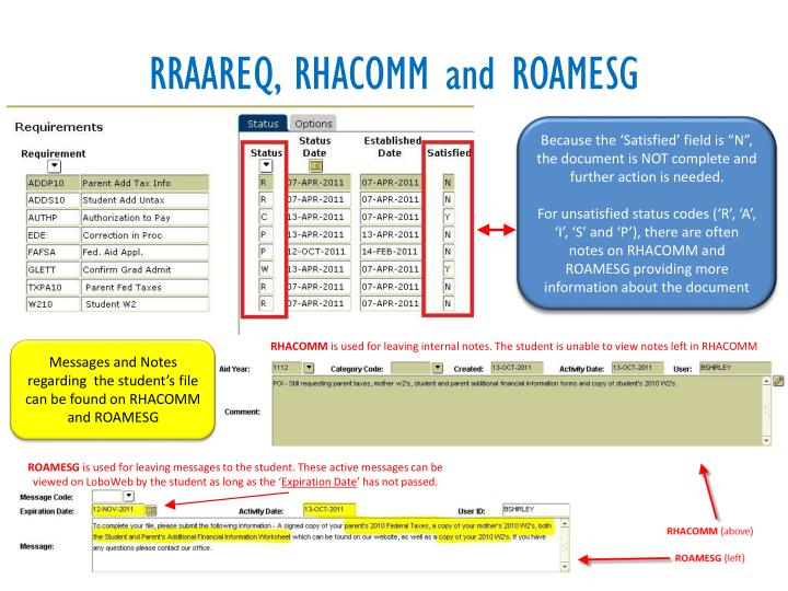RRAAREQ, RHACOMM and ROAMESG