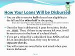 how your loans will be disbursed