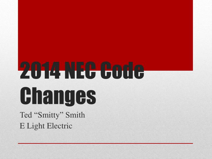 2014 nec code changes n.