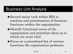 business unit analysis