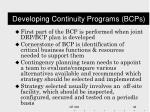 developing continuity programs bcps1