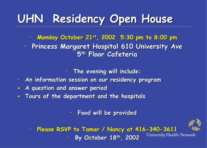 Uhn residency open house