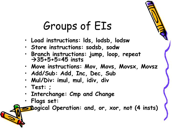 Groups of EIs