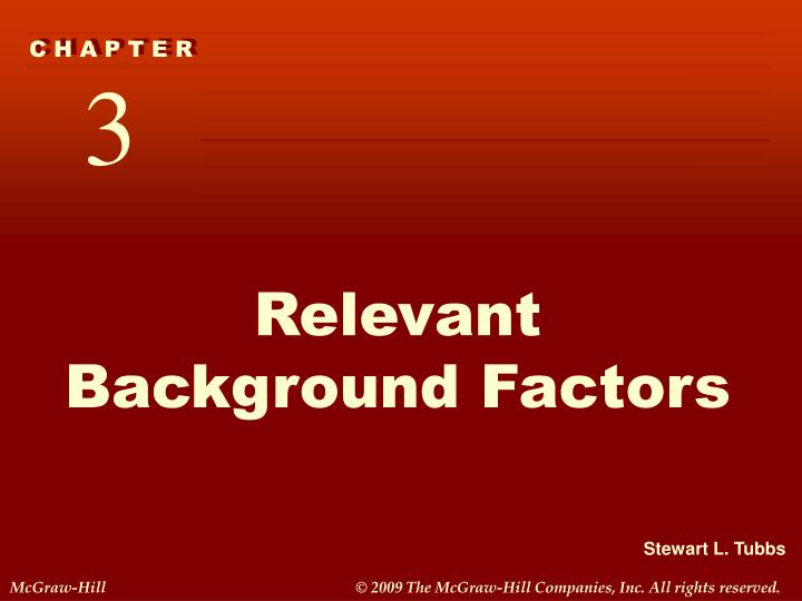 relevant background factors n.