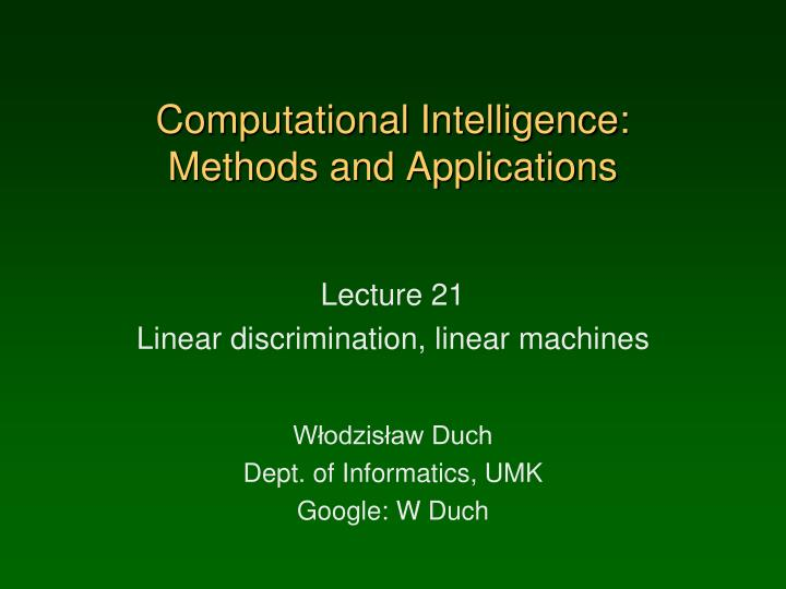 computational intelligence methods and applications n.