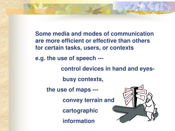 Some media and modes of communication are more efficient or effective than others for certain tasks, users, or contexts