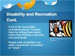 disability and recreation cont