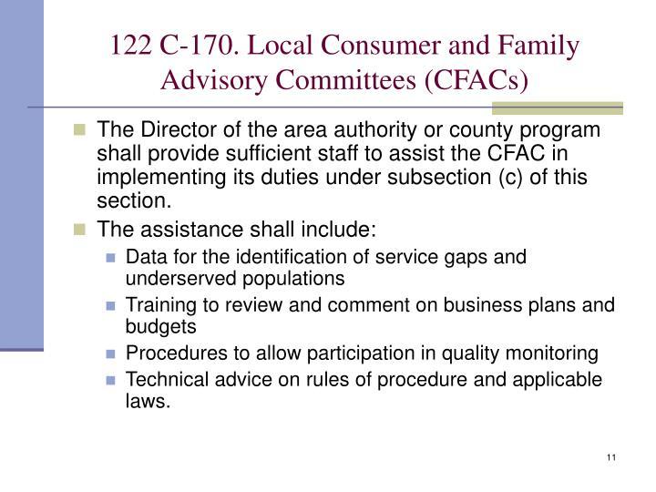 122 C-170. Local Consumer and Family Advisory Committees (CFACs)