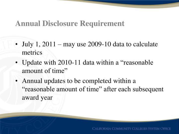 Annual Disclosure Requirement
