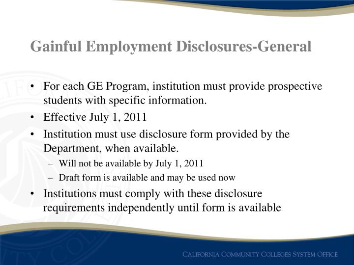 Gainful Employment Disclosures-General