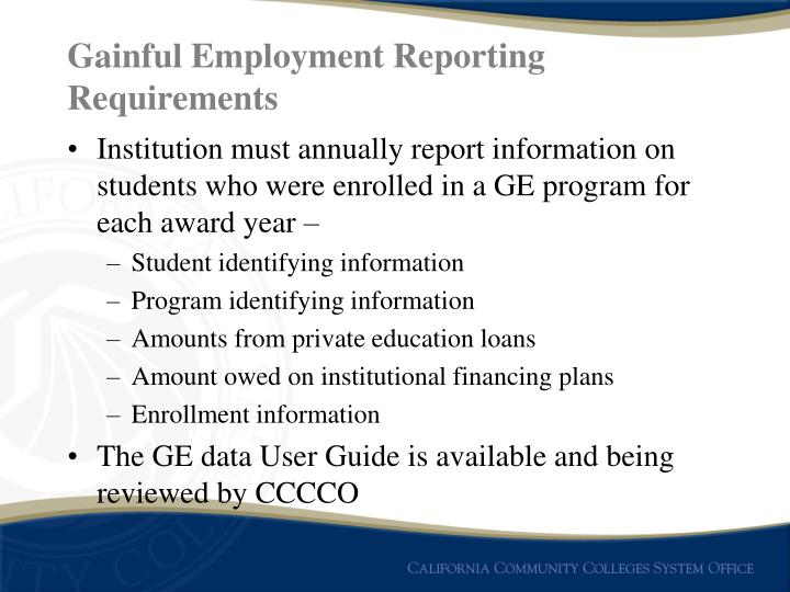 Gainful Employment Reporting Requirements