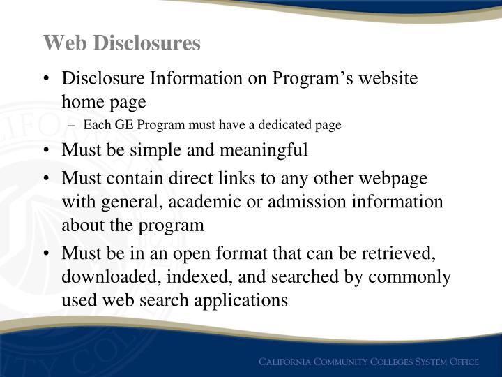 Web Disclosures