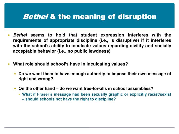 Bethel the meaning of disruption