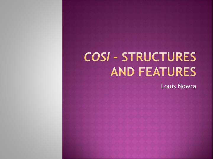 cosi structures and features n.