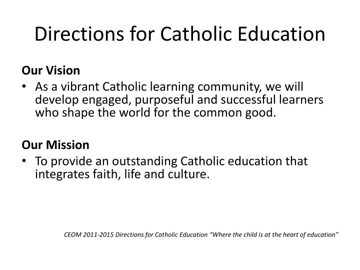 directions for catholic education n.
