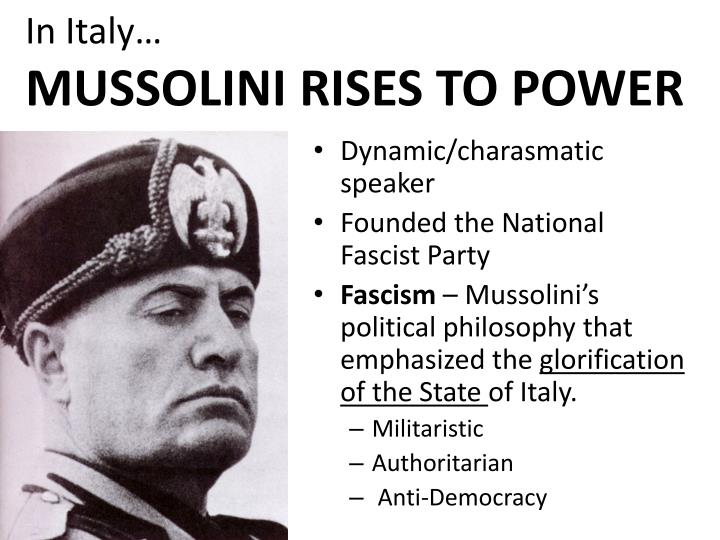 an analysis of mussolinis rise to power Hitler & mussolini's rise to power comparison hitler and mussolini made use of the great depression during the 1930's to rise to power.