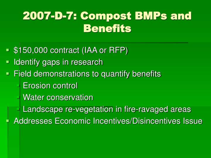2007-D-7: Compost BMPs and Benefits