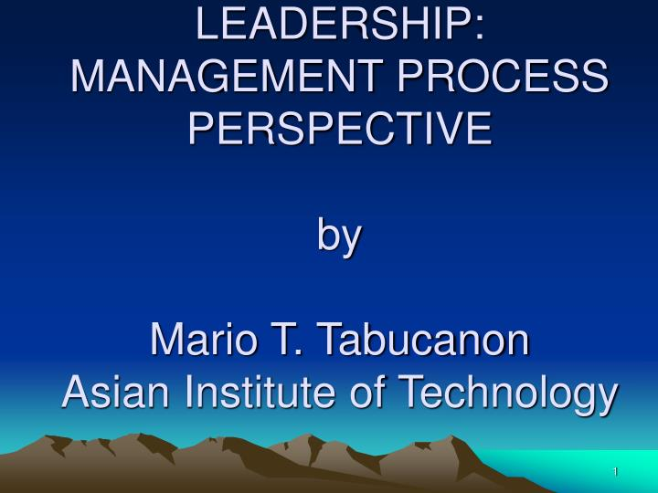 leadership management process perspective by mario t tabucanon asian institute of technology n.