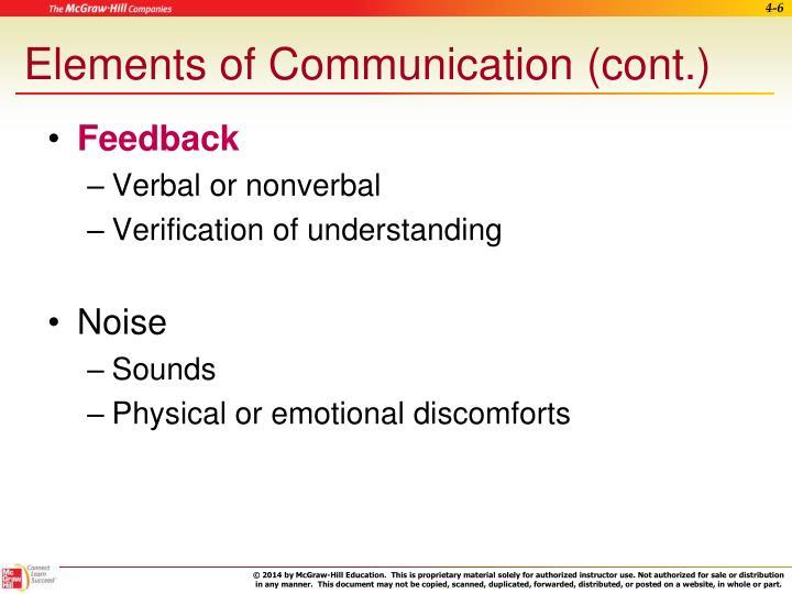 Elements of Communication (cont.)