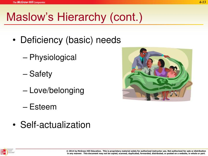Maslow's Hierarchy (cont.)