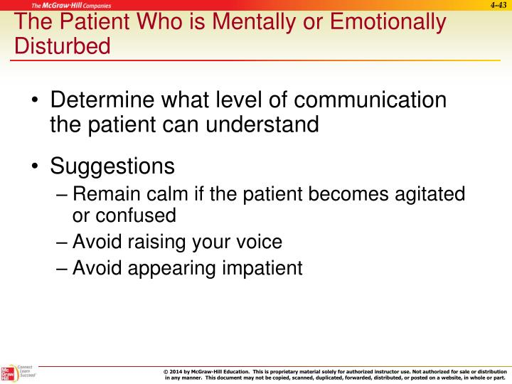 The Patient Who is Mentally or Emotionally Disturbed