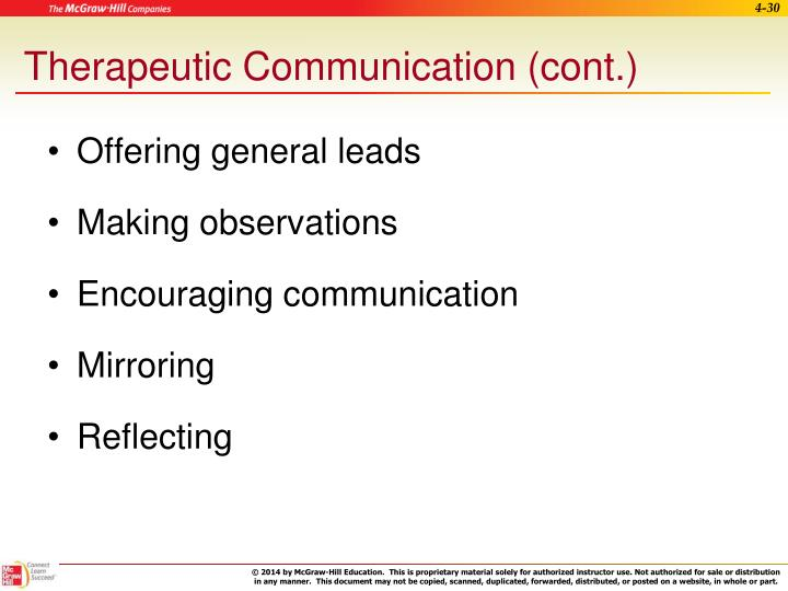 Therapeutic Communication (cont.)