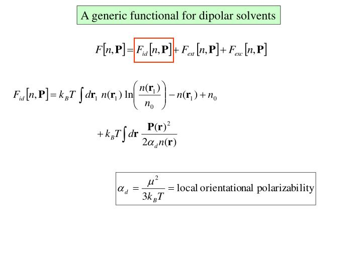 A generic functional for dipolar solvents