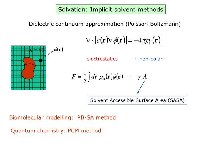Solvation: Implicit solvent methods