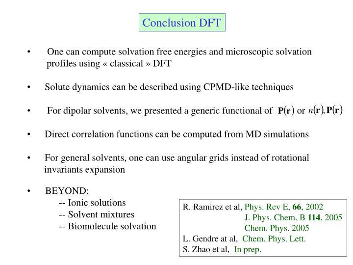 Conclusion DFT